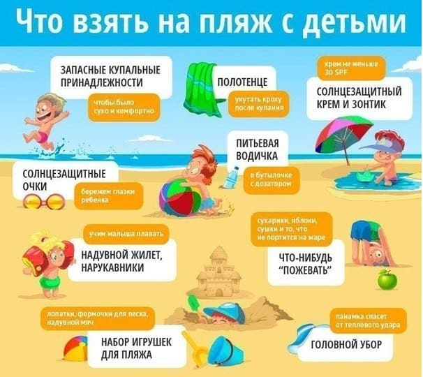 Что взять на пляж с детьми