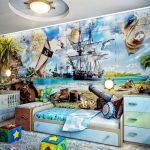 Фотообои в комнате любителя историй о пиратах.