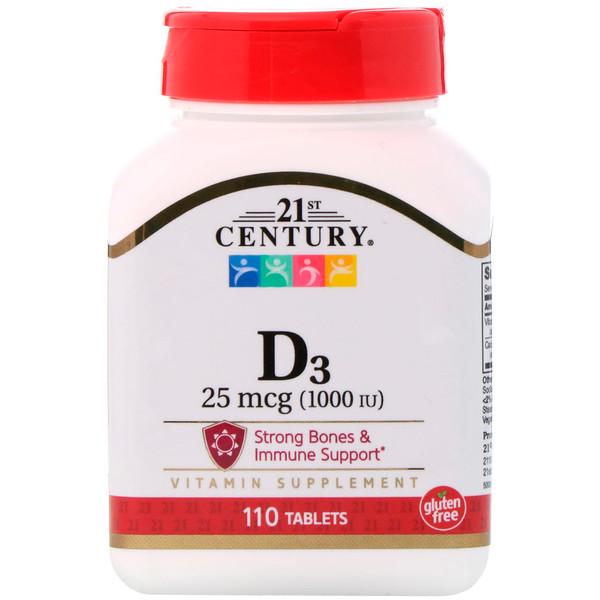 21st Century, D3, 1000 IU, 110 Tablets