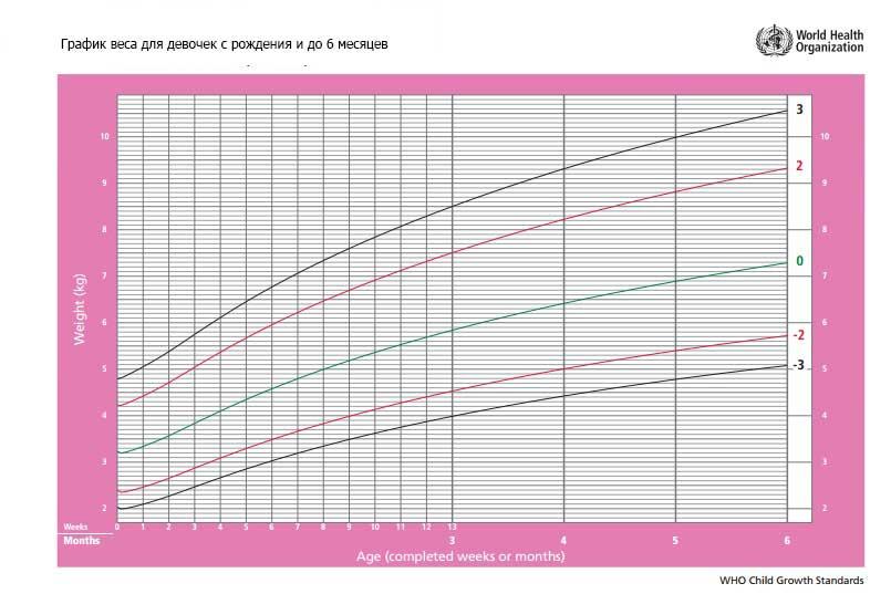 график веса для девочки с рождения и до 6 месяцев