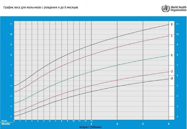 график веса для мальчиков с рождения и до 6 месяцев