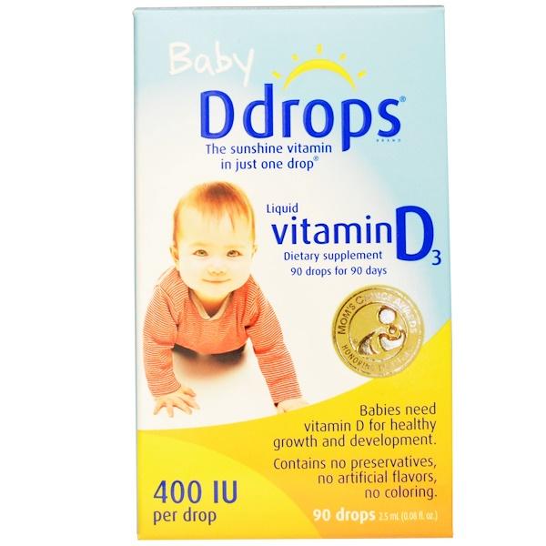 Ddrops, Жидкий витамин D3 для детей, 400 МЕ, 0.08 ж. унций (2.5 мл), 90 капель