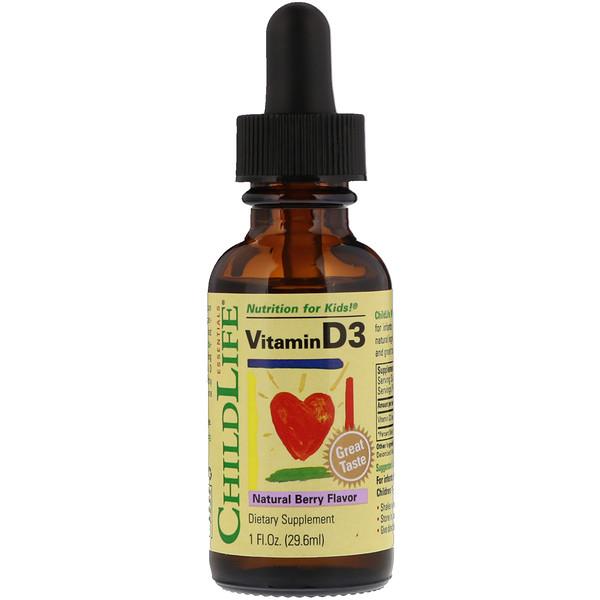 ChildLife, Витамин D3, натуральный аромат ягод, 29,6 мл, (1 ж. унц)