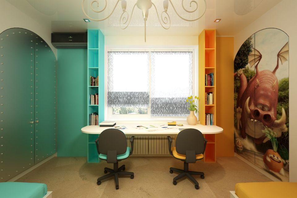 Разделение детской комнаты на зоны по цветам