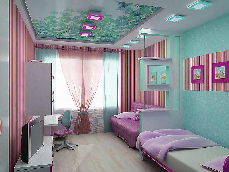 Детская комната для двоих девочек в розовых оттенках