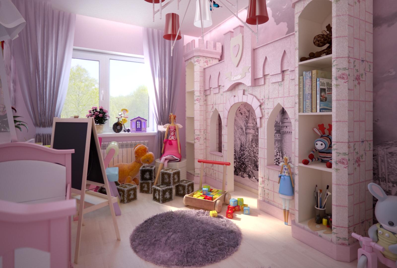 Дизайн интерьера детской комнаты для девочек с замком