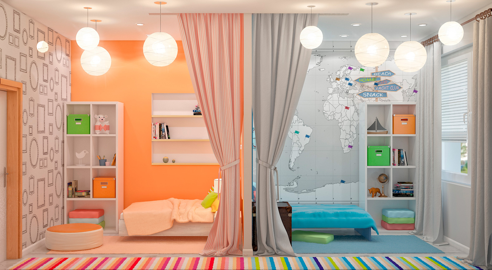 Перпендикулярное зонирование детской комнаты для двоих детей