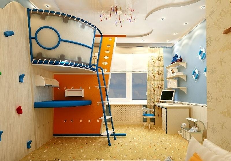 Вариант обустройства небольшой детской комнаты для двоих детей