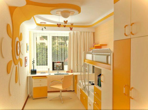 интерьер маленькой детской комнаты для двоих 2