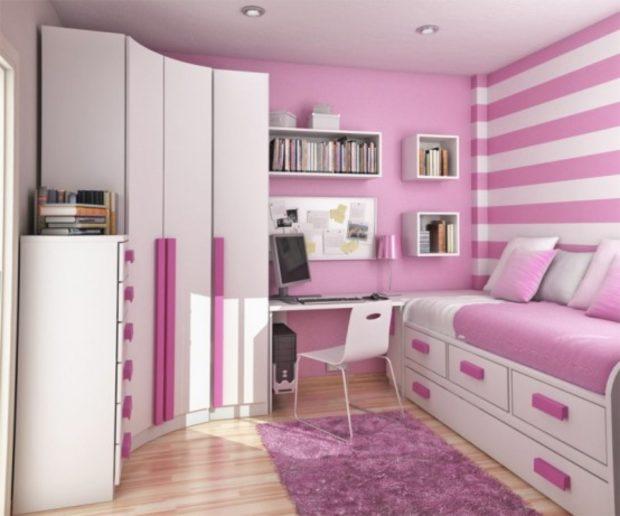 интерьер маленькой детской комнаты цвет