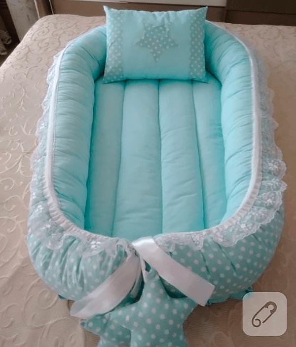 Как сшить кокон гнёздышко с подушкой и кружевом