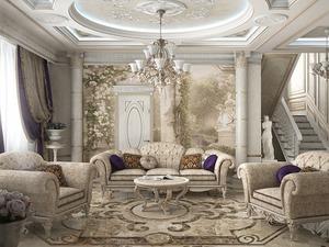 Интерьер гостиной в коттедже в классическом стиле