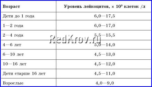 Норма лейкоцитов в крови детей разного возраста
